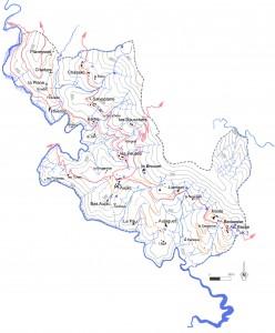 carte des hameaux d'Aujac
